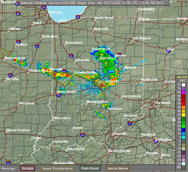 Radar Image for Severe Thunderstorms near Indianapolis, IN at 7/11/2020 5:12 PM EDT