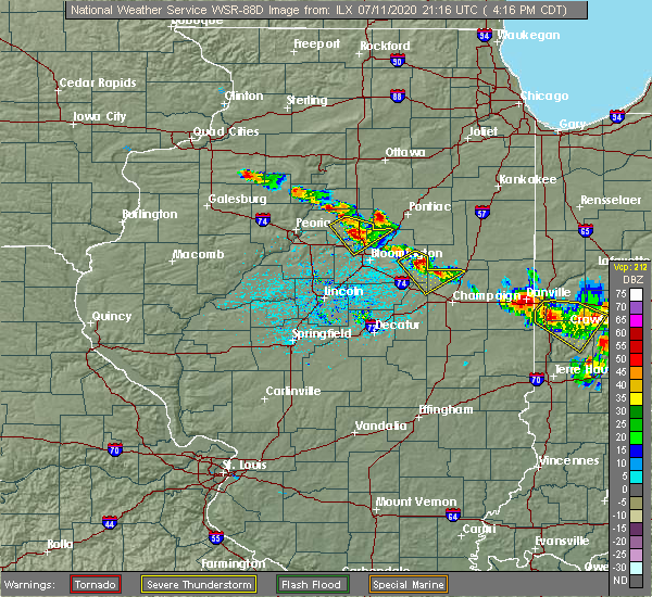 Radar Image for Severe Thunderstorms near Flanagan, IL at 7/11/2020 4:22 PM CDT