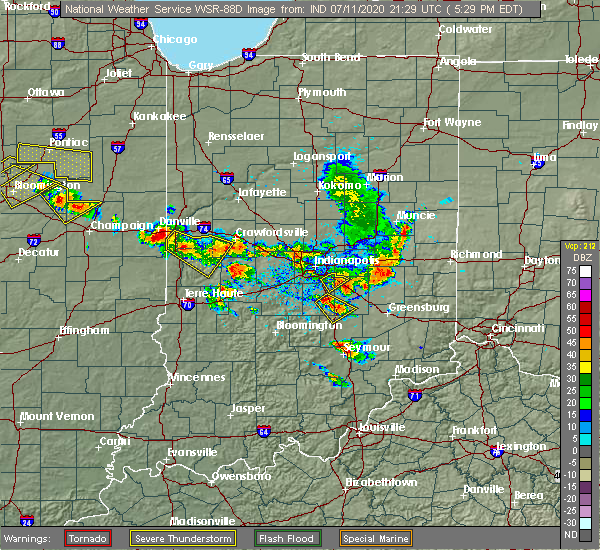 Radar Image for Severe Thunderstorms near Taylorsville, IN at 7/11/2020 5:32 PM EDT