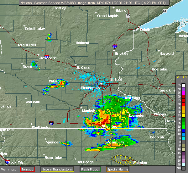 Radar Image for Severe Thunderstorms near Emmons, MN at 7/11/2020 4:38 PM CDT