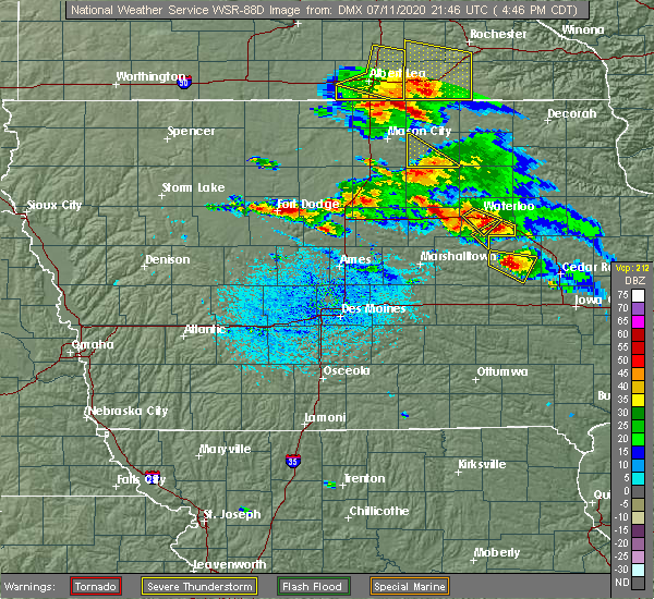 Radar Image for Severe Thunderstorms near Waterloo, IA at 7/11/2020 4:51 PM CDT