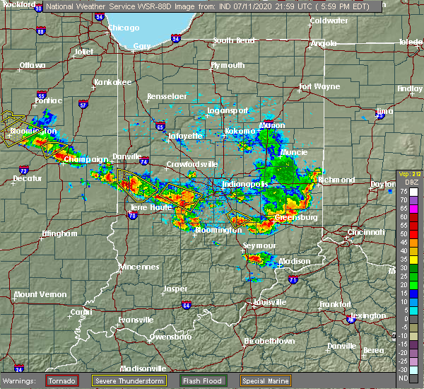 Radar Image for Severe Thunderstorms near Bloomingdale, IN at 7/11/2020 6:04 PM EDT