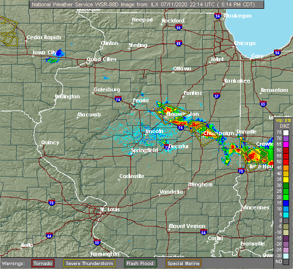 Radar Image for Severe Thunderstorms near Lake of the Woods, IL at 7/11/2020 5:21 PM CDT