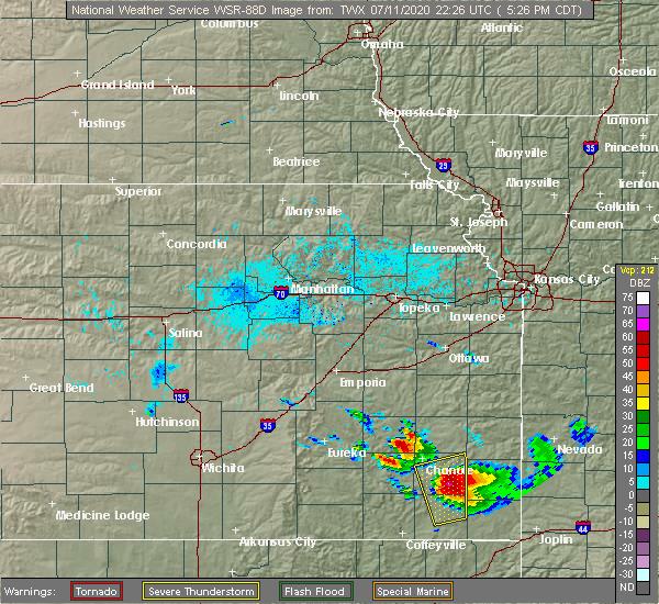 Radar Image for Severe Thunderstorms near Earlton, KS at 7/11/2020 5:32 PM CDT
