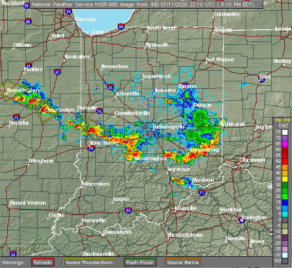 Radar Image for Severe Thunderstorms near Bloomington, IN at 7/11/2020 6:36 PM EDT