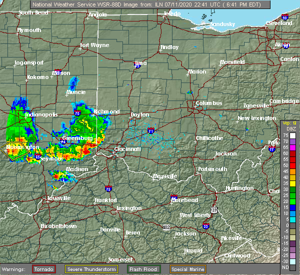Radar Image for Severe Thunderstorms near Lawrenceburg, IN at 7/11/2020 6:43 PM EDT