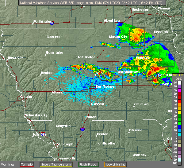 Radar Image for Severe Thunderstorms near State Center, IA at 7/11/2020 5:47 PM CDT