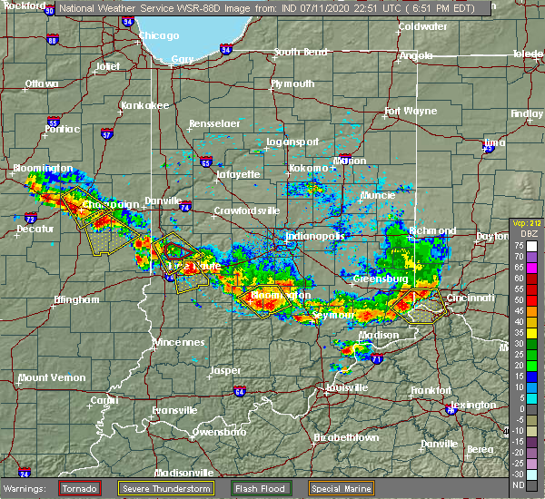 Radar Image for Severe Thunderstorms near Bloomington, IN at 7/11/2020 6:53 PM EDT