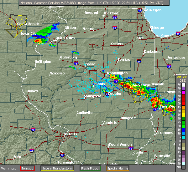 Radar Image for Severe Thunderstorms near Lake of the Woods, IL at 7/11/2020 5:58 PM CDT