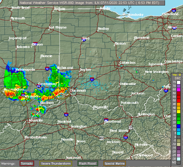 Radar Image for Severe Thunderstorms near Lawrenceburg, IN at 7/11/2020 6:58 PM EDT