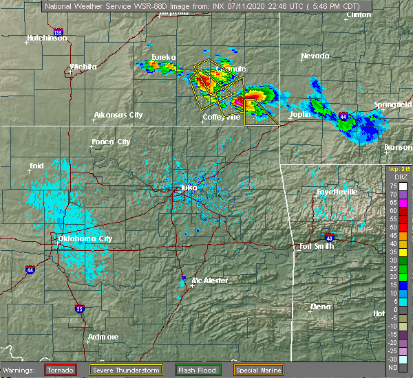 Radar Image for Severe Thunderstorms near Baxter Springs, KS at 7/11/2020 5:57 PM CDT