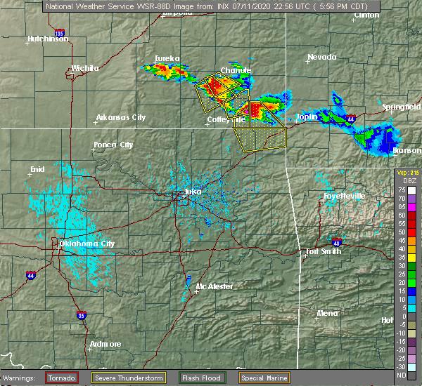 Radar Image for Severe Thunderstorms near Earlton, KS at 7/11/2020 6:00 PM CDT