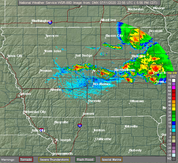 Radar Image for Severe Thunderstorms near State Center, IA at 7/11/2020 6:01 PM CDT