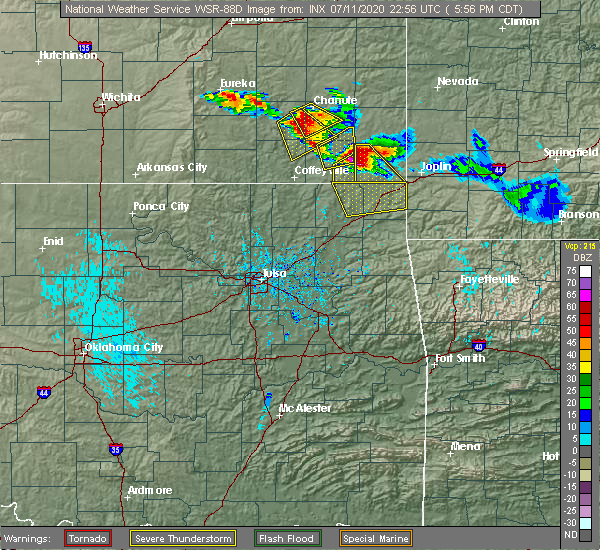 Radar Image for Severe Thunderstorms near Baxter Springs, KS at 7/11/2020 6:04 PM CDT