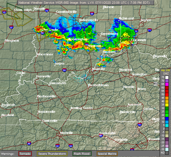 Radar Image for Severe Thunderstorms near Brownstown, IN at 7/11/2020 7:13 PM EDT
