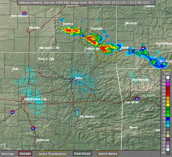Radar Image for Severe Thunderstorms near Baxter Springs, KS at 7/11/2020 6:14 PM CDT