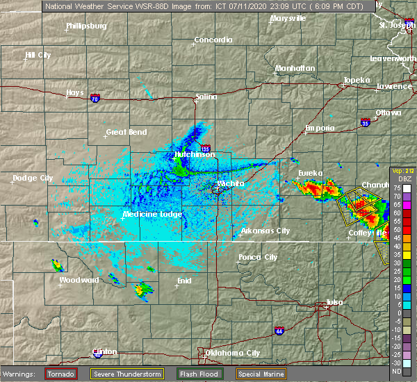 Radar Image for Severe Thunderstorms near Severy, KS at 7/11/2020 6:16 PM CDT