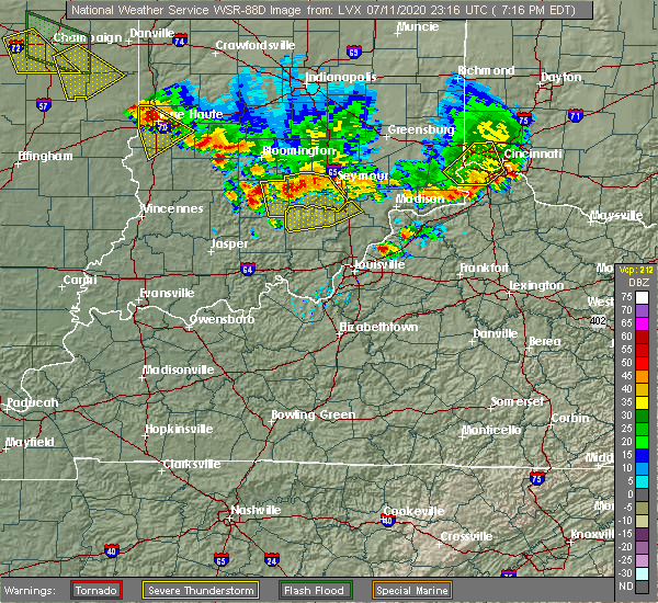 Radar Image for Severe Thunderstorms near Livonia, IN at 7/11/2020 7:19 PM EDT