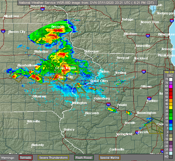 Radar Image for Severe Thunderstorms near Martelle, IA at 7/11/2020 6:27 PM CDT