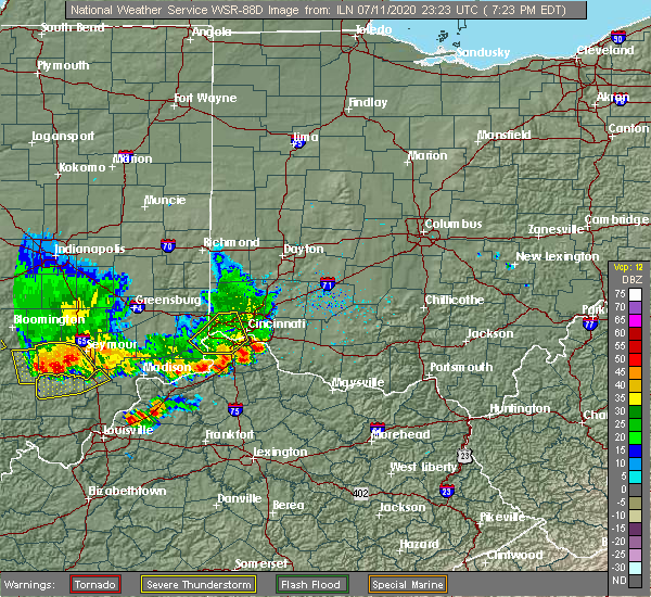 Radar Image for Severe Thunderstorms near Lawrenceburg, IN at 7/11/2020 7:28 PM EDT