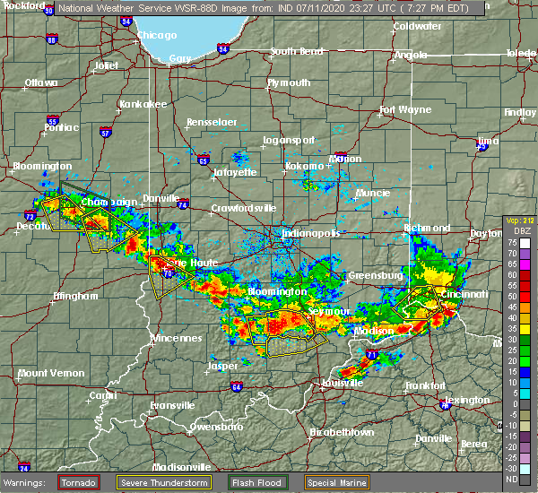 Radar Image for Severe Thunderstorms near St. Mary of the Woods, IN at 7/11/2020 7:30 PM EDT