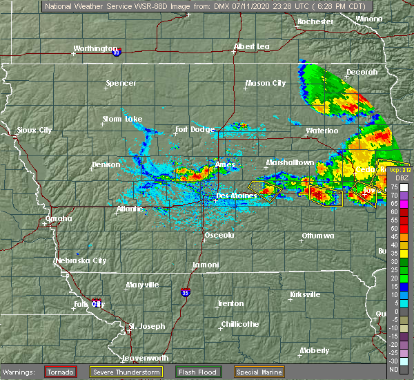 Radar Image for Severe Thunderstorms near Deep River, IA at 7/11/2020 6:33 PM CDT
