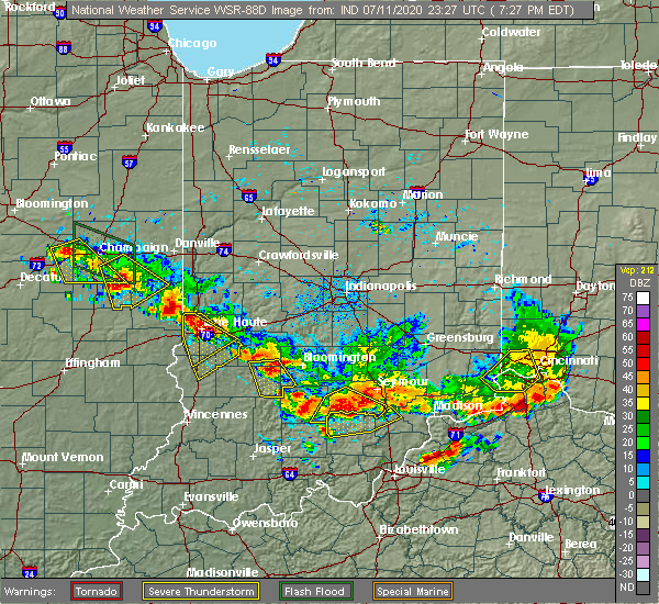 Radar Image for Severe Thunderstorms near Paris, IL at 7/11/2020 6:34 PM CDT