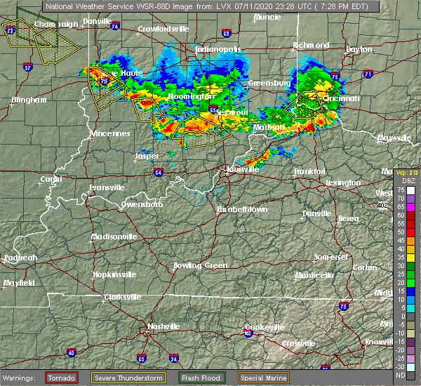 Radar Image for Severe Thunderstorms near Livonia, IN at 7/11/2020 7:34 PM EDT