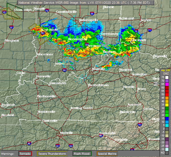 Radar Image for Severe Thunderstorms near Brownstown, IN at 7/11/2020 7:41 PM EDT