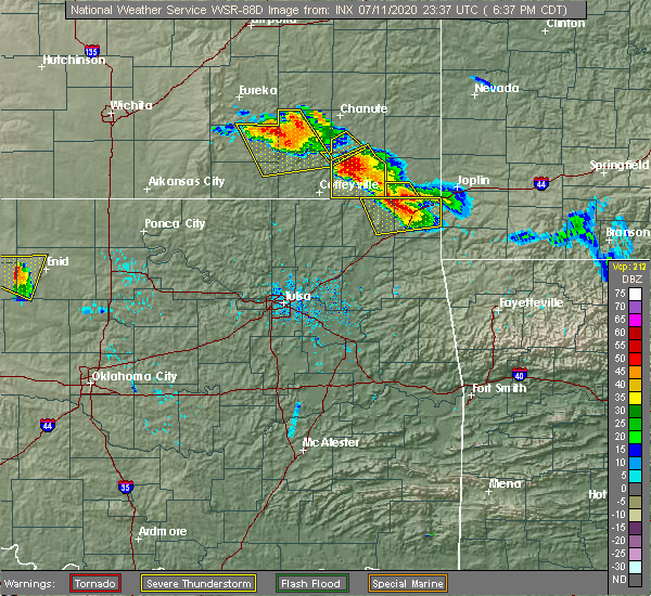 Radar Image for Severe Thunderstorms near Picher, OK at 7/11/2020 6:41 PM CDT