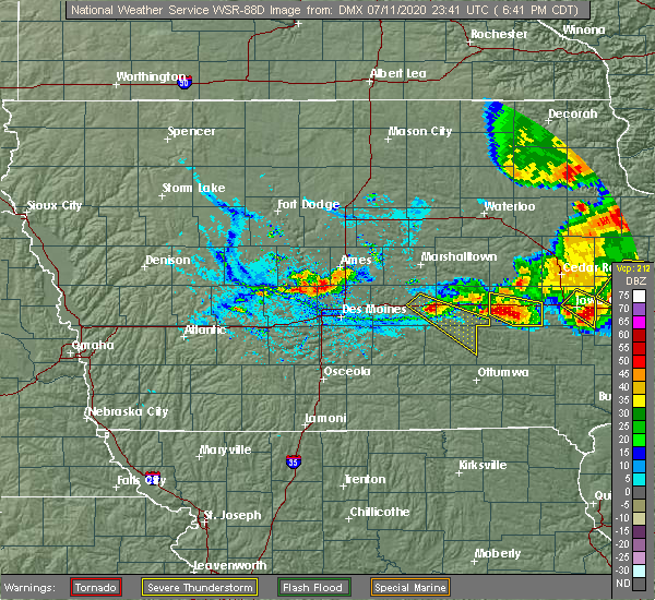 Radar Image for Severe Thunderstorms near Deep River, IA at 7/11/2020 6:46 PM CDT