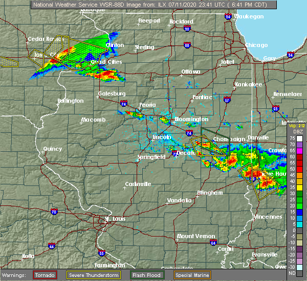 Radar Image for Severe Thunderstorms near Lake of the Woods, IL at 7/11/2020 6:46 PM CDT