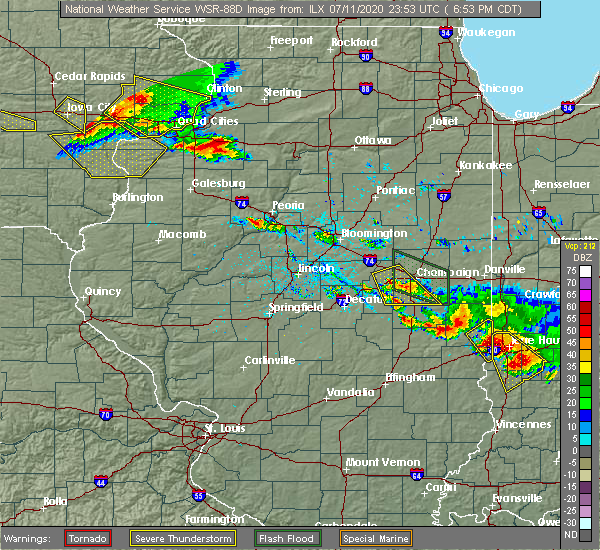 Radar Image for Severe Thunderstorms near Lake of the Woods, IL at 7/11/2020 6:56 PM CDT