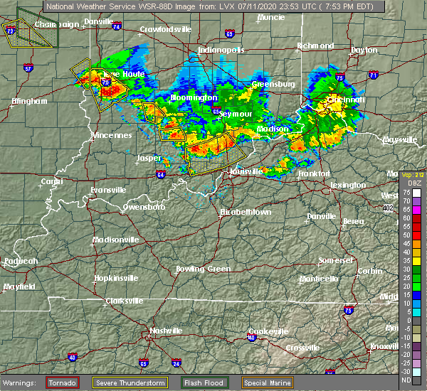 Radar Image for Severe Thunderstorms near Bedford, IN at 7/11/2020 7:58 PM EDT