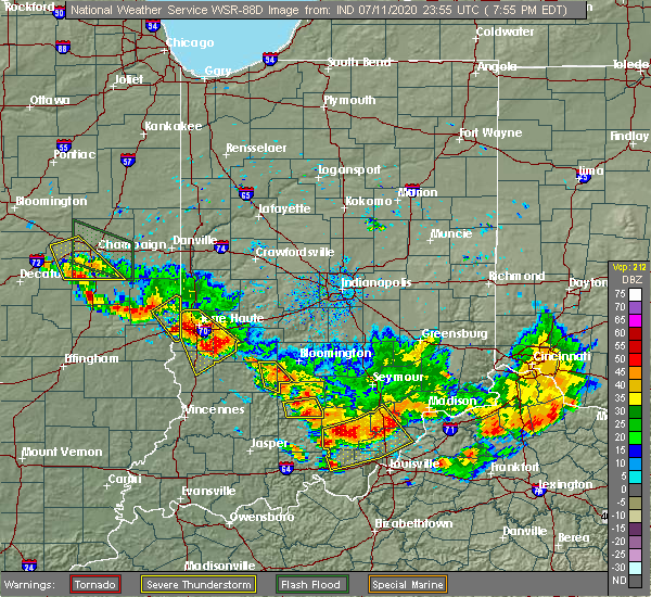 Radar Image for Severe Thunderstorms near Paris, IL at 7/11/2020 6:59 PM CDT