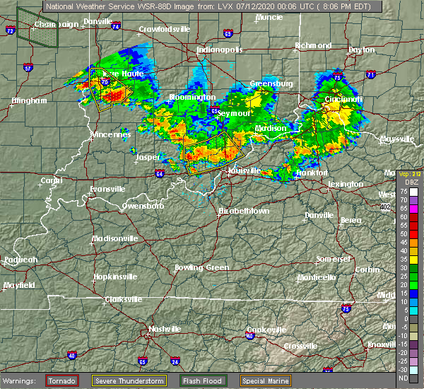 Radar Image for Severe Thunderstorms near Worthington Hills, KY at 7/11/2020 8:12 PM EDT