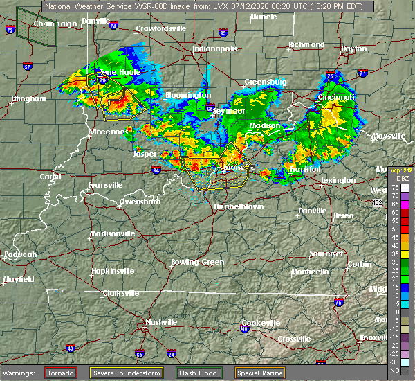 Radar Image for Severe Thunderstorms near Worthington Hills, KY at 7/11/2020 8:30 PM EDT