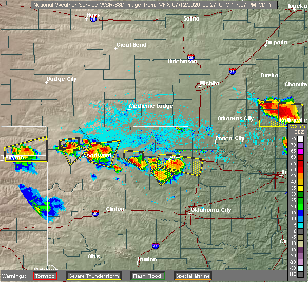 Radar Image for Severe Thunderstorms near Hennessey, OK at 7/11/2020 7:32 PM CDT