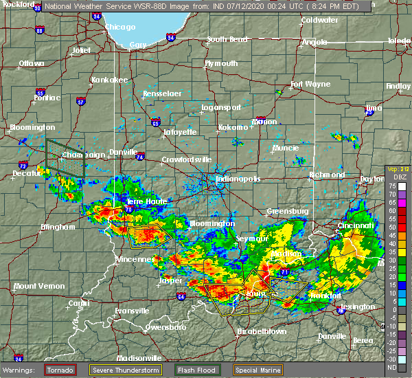 Radar Image for Severe Thunderstorms near Bloomfield, IN at 7/11/2020 8:33 PM EDT