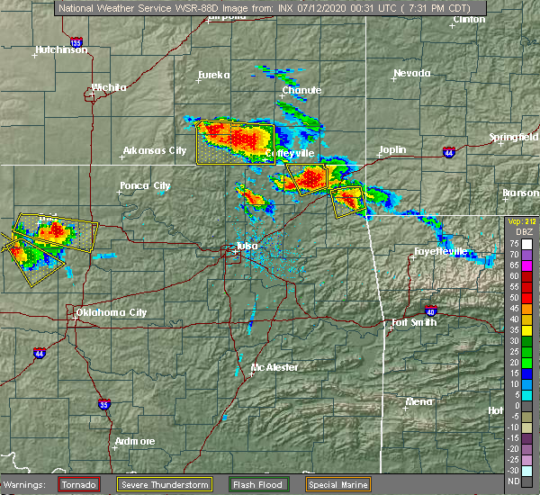Radar Image for Severe Thunderstorms near Bernice, OK at 7/11/2020 7:33 PM CDT