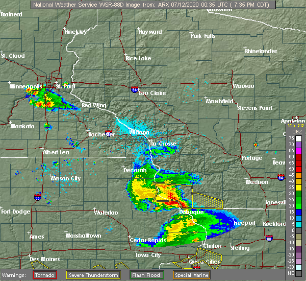 Radar Image for Severe Thunderstorms near Glen Haven, WI at 7/11/2020 7:36 PM CDT
