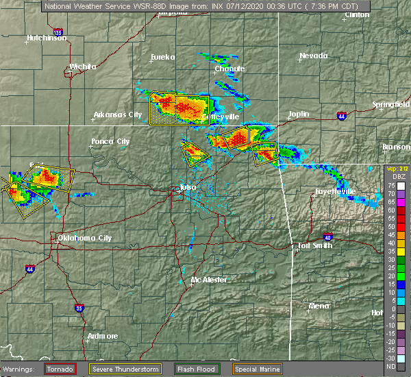 Radar Image for Severe Thunderstorms near Bernice, OK at 7/11/2020 7:41 PM CDT