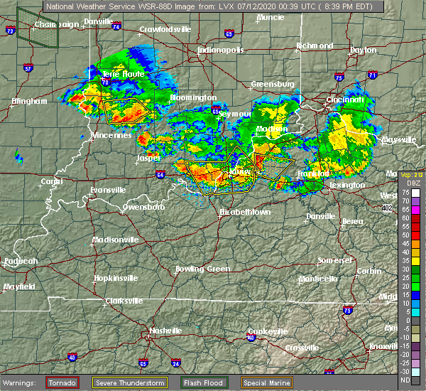 Radar Image for Severe Thunderstorms near Hunters Hollow, KY at 7/11/2020 8:43 PM EDT