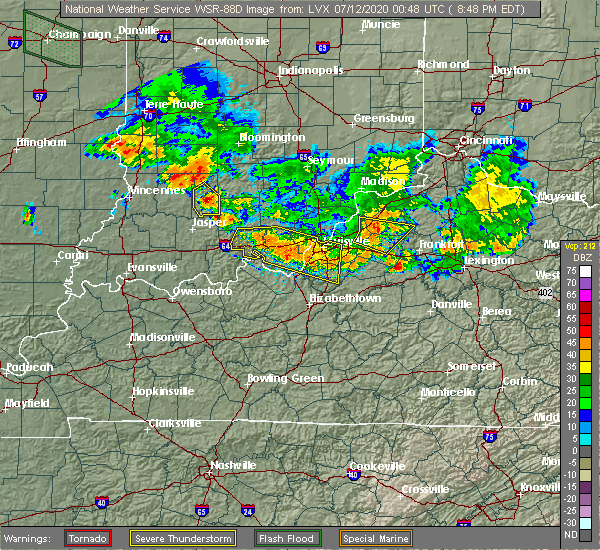 Radar Image for Severe Thunderstorms near French Lick, IN at 7/11/2020 8:53 PM EDT