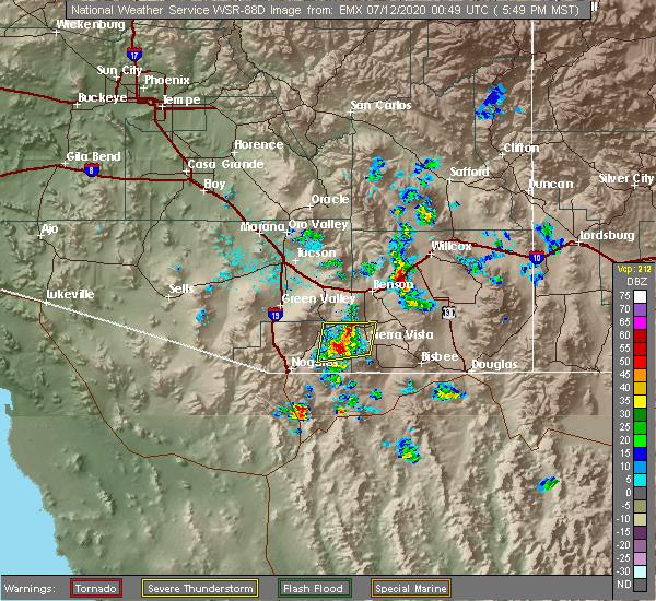 Radar Image for Severe Thunderstorms near Benson, AZ at 7/11/2020 5:55 PM MST