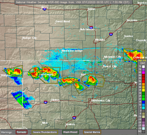 Radar Image for Severe Thunderstorms near Morrison, OK at 7/11/2020 7:59 PM CDT