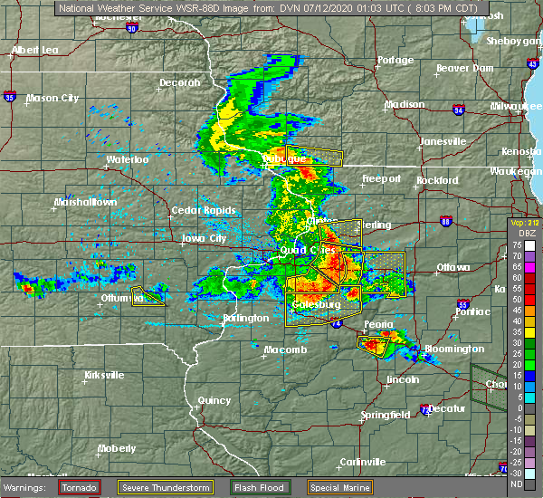 Radar Image for Severe Thunderstorms near Arlington, IL at 7/11/2020 8:05 PM CDT