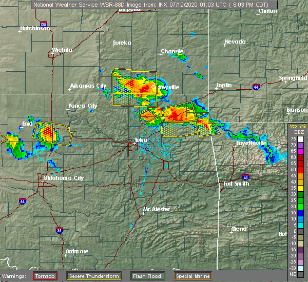 Radar Image for Severe Thunderstorms near Dodge, OK at 7/11/2020 8:07 PM CDT