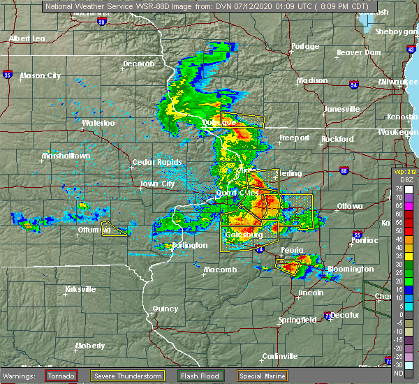 Radar Image for Severe Thunderstorms near Kewanee, IL at 7/11/2020 8:11 PM CDT