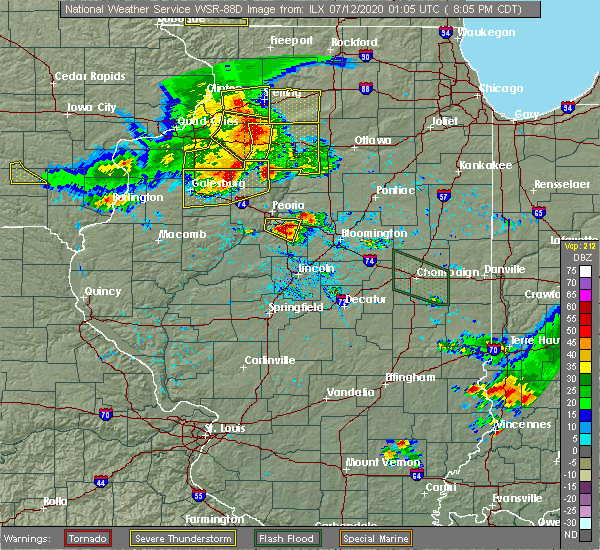 Radar Image for Severe Thunderstorms near Washburn, IL at 7/11/2020 8:10 PM CDT